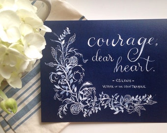 Courage, dear heart, C.S. Lewis, Voyage of the Dawn Treader, Chronicles of Narnia, Children's Literary Art Print