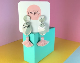 Silver Sage Statement Polymer Clay Earrings from Dotty Pop.