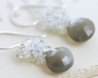 Gray Moonstone Cluster Earrings, Sterling Silver Moonstone Jewelry, Dangle Earrings, aubepine