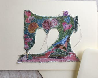 Fiddlestitch Vintage Sewing Machine Card. Sewing Machine Greetings Card for stichers and those who love sewing!