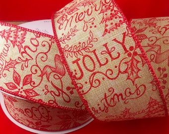 2 1/2 Inch Wired Printed Burlap Christmas Ribbon