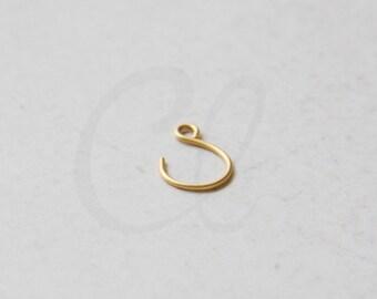 4pcs (2 Pairs) Premium Matte Gold Plated Brass Base Earring Hooks - 15x11.5mm (1967C-N-272)