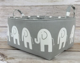 XLarge Diaper Caddy - Storage Container Organizer Bin Basket  - with 2 Dividers - White Ele Elephant on Gray