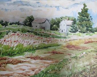 Pennsylvania Farm Fields, Original Watercolor Painting