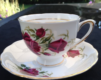 Colclough Romantic Red Roses teacup and saucer