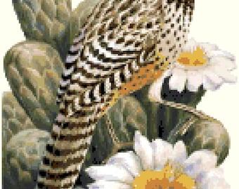 Arizona State Bird & Flower Counted Cross Stitch Pattern
