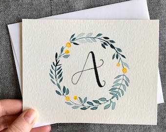 Custom Monogram Greeting Card | Fruit Wreath