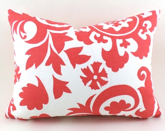 Lumbar Pillow Cover ANY SIZE Decorative Pillow Cover Coral Pillow Salmon Pillow Premier Prints Suzani Coral