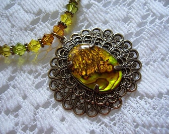 Bright Gold Paua Shell Victorian Necklace