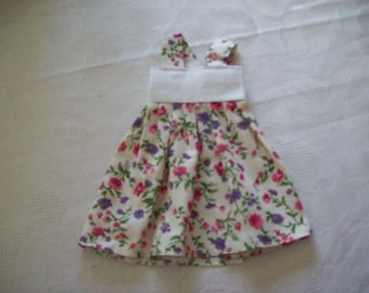 cotton print (with flowers), dress for dolls 32 33 cm, compatible with the girls