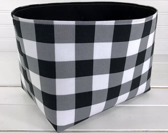 Lumberjack Storage Basket Buffalo Plaid Woodland Nursery Decor Home Decor Room Decor Office Decor Baby Shower Gift White Black