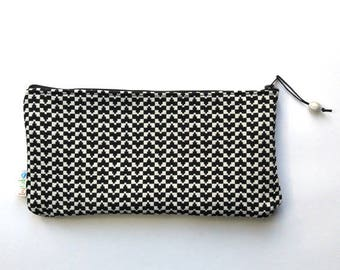Large pouch or makeup bag black and white