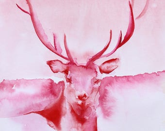 """Elk in Red and Rose ORIGINAL watercolour painting on heavy arches cotton paper 9"""" x 12"""""""