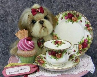 Shih tzu puppy, Mixed media, Fine Bone China teaset.