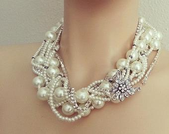 Bridal Statement Necklace, Wedding Bridal Jewelry, Chunky Pearl Rhinestone Necklace, Bridal Pearl Necklace, Bridal Jewelry