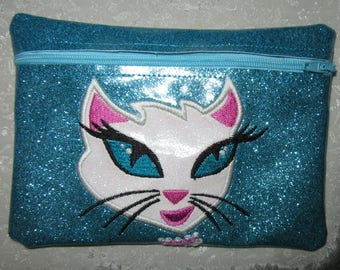 Handmade - Diva Cat Design - Turquoise -Glitter Vinyl - Cosmetic Makeup Bag - Zipper Pouch-Embroidered