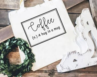Cotton Tote Bag - Coffee Defined Market Tote - Reusable Tote Bag - Reusable Tote Bag - Market Bag - Canvas Tote Bag - Coffee Lover