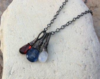 KYANITE, GARNET, and MOONSTONE charm necklace, 3 in 1, sterling silver, handmade patriotic jewelry, genuine gemstone