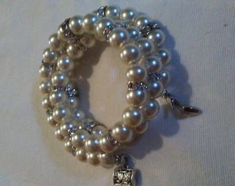 3-Tier Ivory Pearls Bracelets with Charms