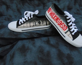 The Walking Dead Michonne Inspired Hand Painted Black Canvas Shoes