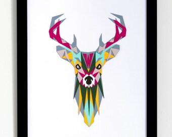 Deer papercut Digital download, Woodland nursery deer head, Printable kids room decor, Instant download woodland animals, Geometric