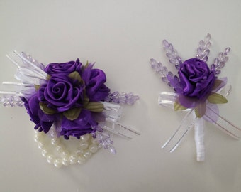 Purple Corsage and Boutonniere Set