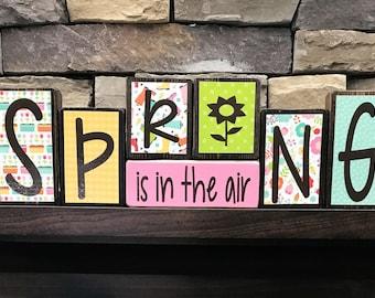 Spring is in the air wood blocks