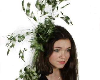 Olive and Cream  Fascinator Kentucky Derby or Wedding Hat With Headband