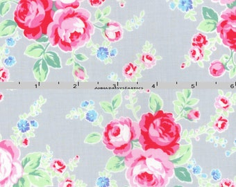 Gray & Pink Roses Fabric, Floral Quilt Fabric, Lecien Flower Sugar Paisley 31425 90, Shabby Floral Fabric, Cotton