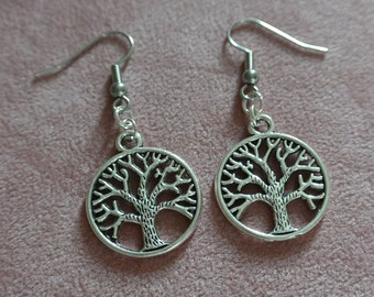 Tree Of Life Earrings, Silver Tree Of Life Dangle Earrings, Silver Tree Earrings, Hypoallergenic Earrings Gift For Her