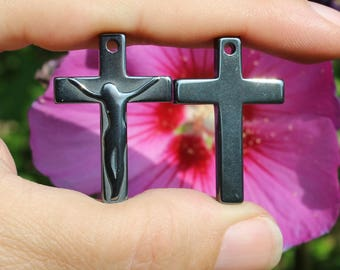 1 PEARL HEMATITE CRUCIFIX CROSS PENDANT NON MAGNETIC GRAY 33X22X5MM.
