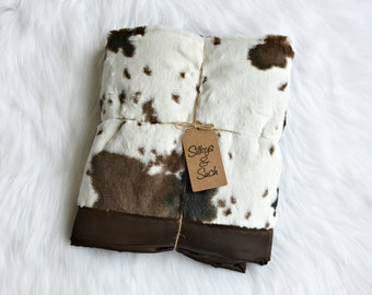 Cow Adult Silky Blanket ~Cow Print Minky on Brown Satin, Minky Blanket, Satin and Minky Blanket, Silky Blanket, Satin Blanket, Pony Faux Fur