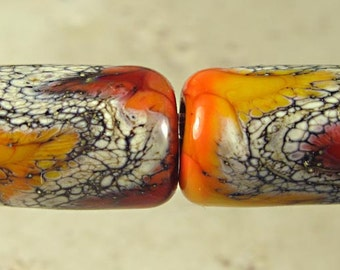 Apricot Orange Tube Lampwork Glass Bead Pair 10x15mm Glossy Warm Fire