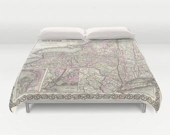 Antique New York Map Duvet Cover, Vintage New York Map Bedding, Old Map Bedspread, Decorative, Unique, Dorm bedding, New York Map Decor