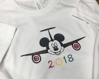 Toddler & Youth Disney Mickey Airplane, disney shirt, vacation shirt, florida, family vacation shirt, magic kingdom