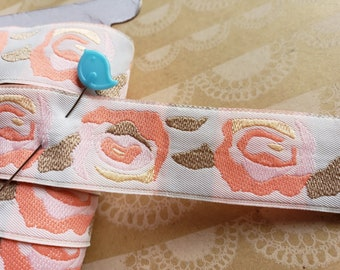 """Rose Jacquard Trim - Floral Polyester Ribbon - Peach Pink Tan Sewing Woven - 1"""" Wide - 4 Yards"""