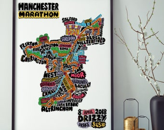 Personalised Manchester Marathon Route Map  // Wall Art // Art Print