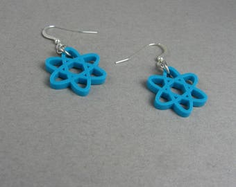 Atom Earrings in Teal Acrylic - Science Jewelry for Chemistry Teacher, Physics Student - Biology Earring