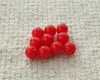 Red Glass Opaque Beads - 8 mm - Sets of 20