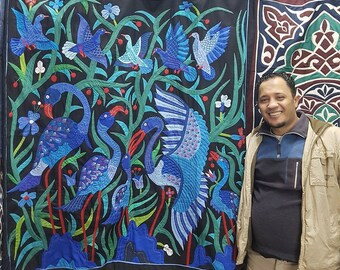 Mohamed Ebrahem, Splendid Blue Cranes, This unique piece by Tentmakers of Cairo