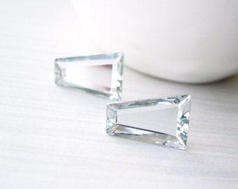 Clear Glass Earrings - Bridal Jewelry, Silver, Titanium Posts, Modern, Geometric, Trapezoid, Simple, Wedding, Vintage Swarovski Components