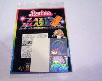 2 Barbie holographic stickers, in original package, c. 1983