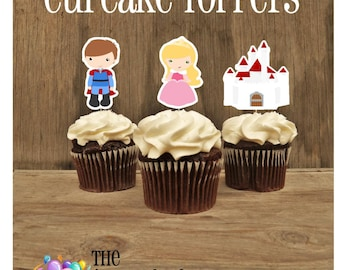 Aurora & Friends Party - Set of 12 Double Sided Assorted Sleeping Beauty Cupcake Toppers by The Birthday House
