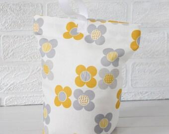 Yellow and Grey Fabric Doorstop Mod Flower Fabric Door Stop Doorstopper Floral Fabric Scandi Home