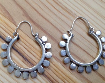 Silver Hoop Earrings,  tribal earring, vintage Earring, indian earring