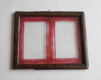antique reverse painting glass picture frame, made in Greece