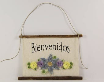 Bienvenidos, Spanish Welcome, Paper Quilled Welcome Sign, 3D Quilled Banner, Blue Purple Yellow Decor, Spanish Gift, Rustic  Wall Art Decor