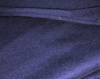"""Vintage Navy Blue Light to Medium Weight Knit Fabrbic, Over 1 1/2 Yards x 66"""" Tube"""