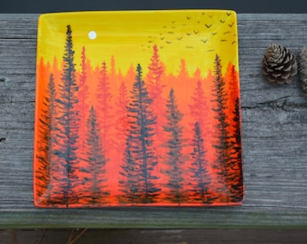 Forest at Dawn - Hand Painted Porcelain Platter - Fathers Day Gift - Original Artwork