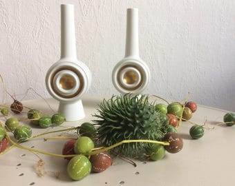 Vintage Plankenhammer Floss vases bull's eye op art vase white golden 70s german porcelain